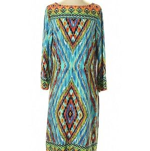 Peck & Peck Aqua Tribal Casual Dress